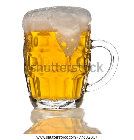 mug of beer isolated on the white background - stock photo