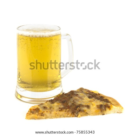 Mug of beer with pizza - stock photo