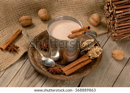 mug of hot chocolate with cinnamon sticks - stock photo