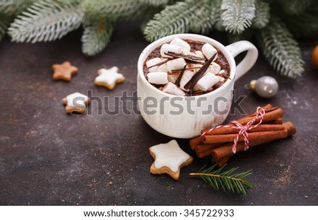 Mug of hot chocolate with marshmallows and cookies. Shallow DOF - stock photo