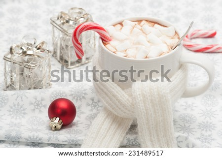 Mug Of Hot Chocolate With Scarf. Marshmallows And Sweets. Christmas Decorations. - stock photo