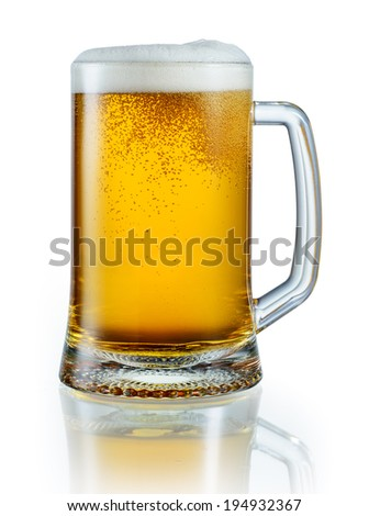 Mug of light beer isolated on white background. With clipping path - stock photo