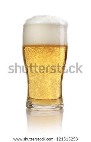 Mug with beer on white background - stock photo