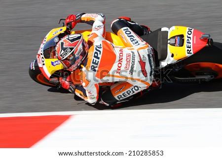 MUGELLO - ITALY, JUNE 1: Spanish Honda rider Marc Marquez wins the 2014 TIM MotoGP of Italy at Mugello circuit on June 1, 2014 - stock photo