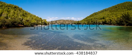 MUGLA, TURKEY - MAY 28, 2016 : Landscape view of Bodrum Heaven Cove with brillant sea coast and hills with green trees. - stock photo
