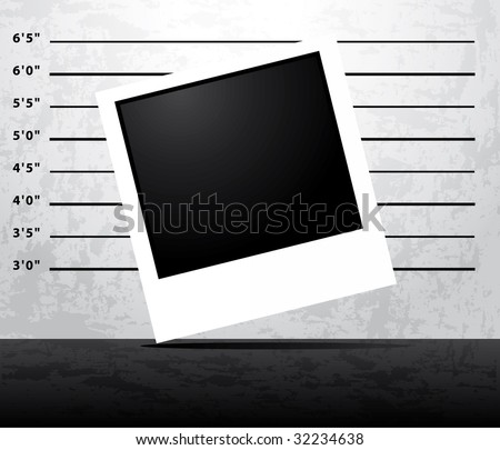 Mugshot prison background with blank instant photo - stock photo
