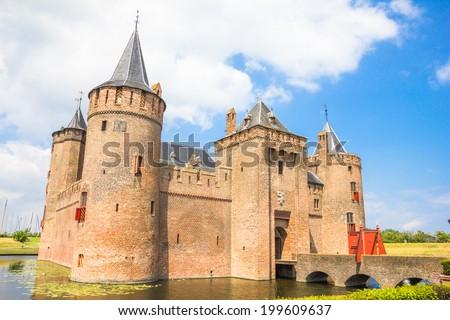 Muiderslot, Castle in Muiden, The Netherlands - stock photo