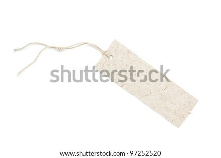 Mulberry paper tag isolated on white - stock photo