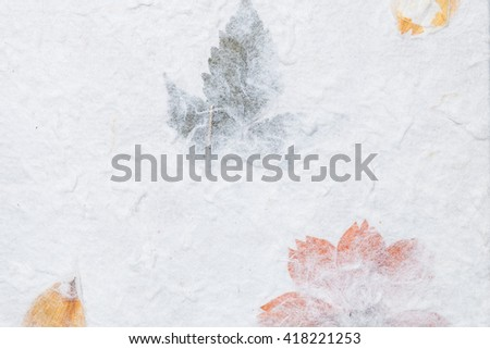 Mulberry paper with flower and leaf texture background - stock photo