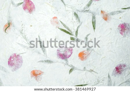 Mulberry paper with flowers texture background - stock photo