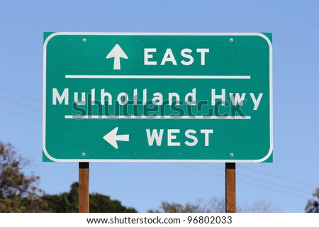 Mulholland Highway sign near Los Angeles California. - stock photo