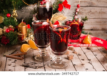 Mulled Red Wine Christmas or New year concept.  Selective Focus.  - stock photo