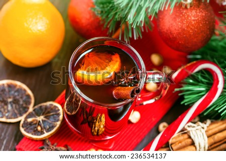 Mulled wine, Christmas hot drink - stock photo