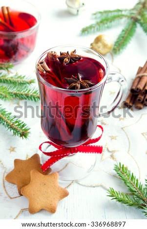 Mulled wine for Christmas and winter holidays - stock photo