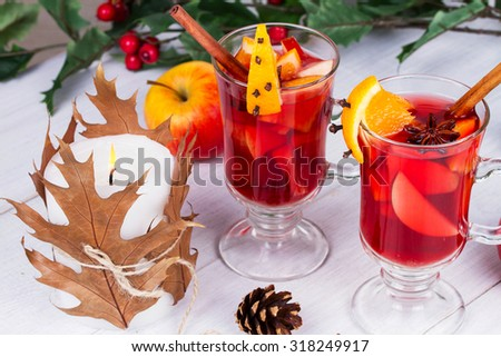 Mulled wine, fruit tea - stock photo