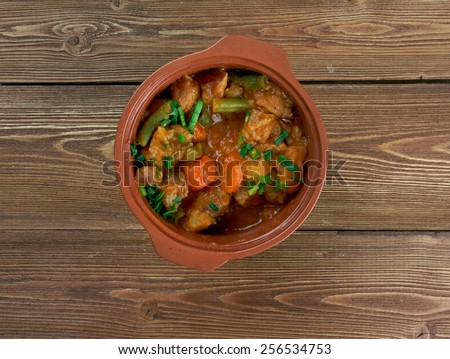 Mulligan Stew -  dish said  American hobos .Tasty winter traditional hot pot country stew - stock photo