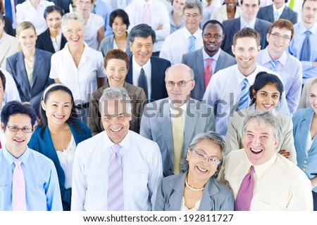 Mullti-ethnic group of business person smiling - stock photo