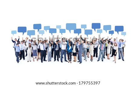 Mullti-ethnic Group of Diverse Business People Celebrating with Speech Bubbles - stock photo