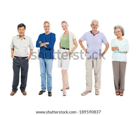 Mullti-ethnic senior group of people - stock photo