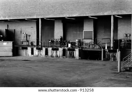 Multi-bay loading dock - stock photo