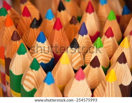 multi colered pencils (crayon) texture - stock photo