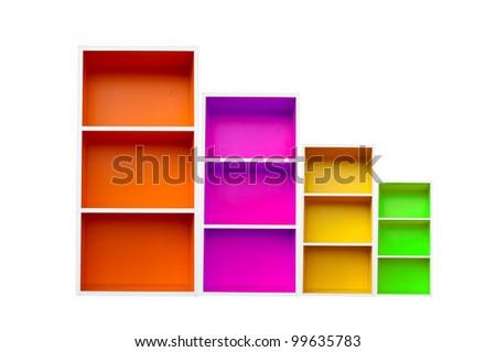 multi color bookcase - stock photo
