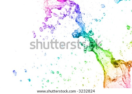 Multi Color Liquid Splash - stock photo