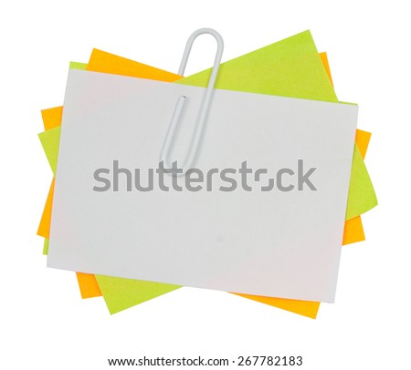 Multi color note with red paper clip isolated clipping path - stock photo