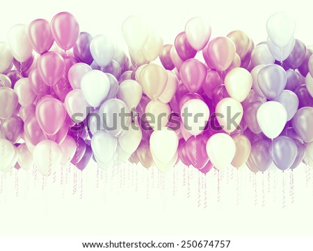 Multi color pastel color party balloons isolated on white  - stock photo
