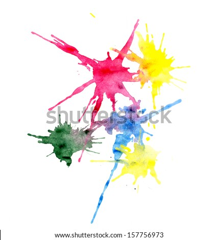 Multi-colored blots, made myself - stock photo