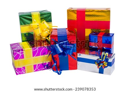 Multi-colored boxes with gifts on a white background - stock photo