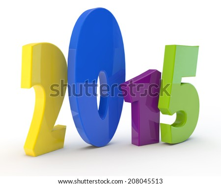 multi-colored comical figures of new year 2015 - stock photo