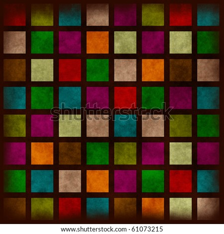 Multi colored grunge background with plaid pattern or stained-glass window - stock photo