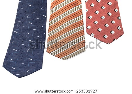 multi colored neckties on white (isolated) with copy space - stock photo
