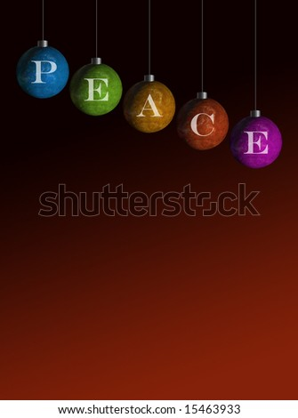 multi colored ornaments that spell peace - stock photo