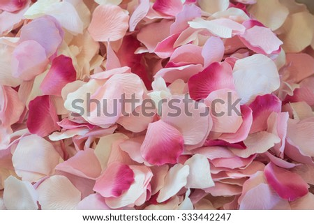 Multi-colored rose blossom petals gathered in a basket. - stock photo