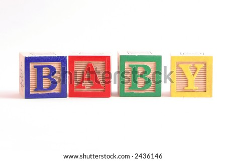 """Multi-colored wooden blocks spelling the word """"Baby"""" horizontally.  White background, isolated. - stock photo"""