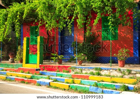 Multi-coloured house on the Ionian island of Kefalonia Greece - stock photo
