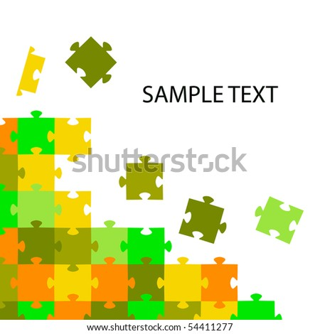 Multi-coloured puzzles on a white background. Vector illustration - stock photo