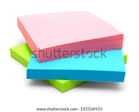 Multi-coloured stickers. On a white background. - stock photo
