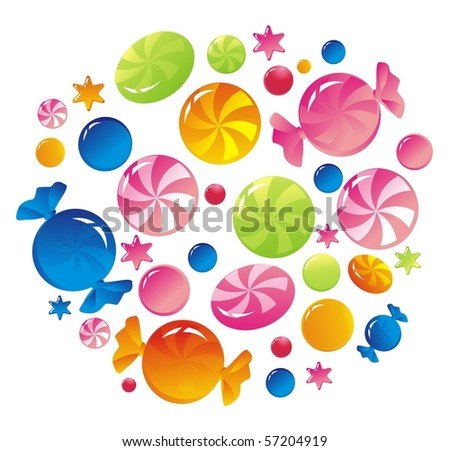 Multi-coloured striped sweets - stock photo