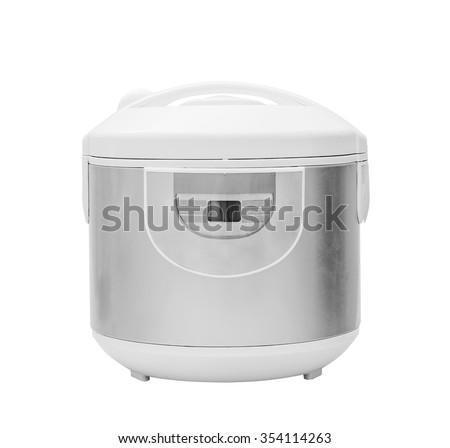 Multi cooker, crock-pot, multivarka isolated on the white - stock photo