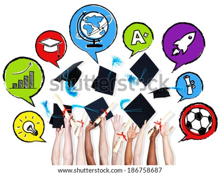 Multi-ethinic arms throwing graduation hats and their aspirations in speech bubbles. - stock photo