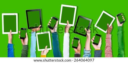 Multi Ethnic Arm Raised Unity Togetherness Digital Device Concept - stock photo