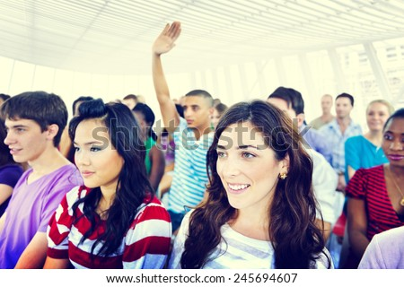 Multi-ethnic casual people and volunteer - stock photo