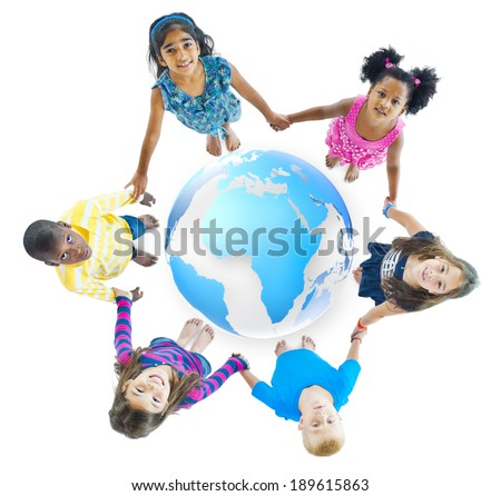 Multi-Ethnic Children Holding Hands Around Globe - stock photo