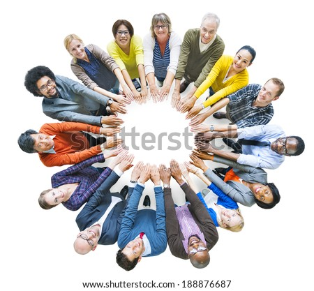 Multi-Ethnic Diverse Group of People In Circle - stock photo