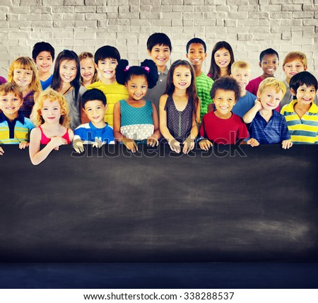 Multi-Ethnic Group Children Holding Empty Billboard - stock photo