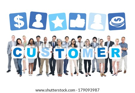 Multi-Ethnic Group Of Diverse People Holding Customer - stock photo