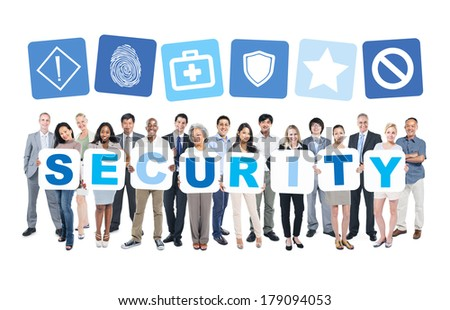 Multi-Ethnic Group Of Diverse People Holding Security - stock photo